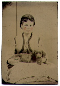 Boy with Dog on Pillow