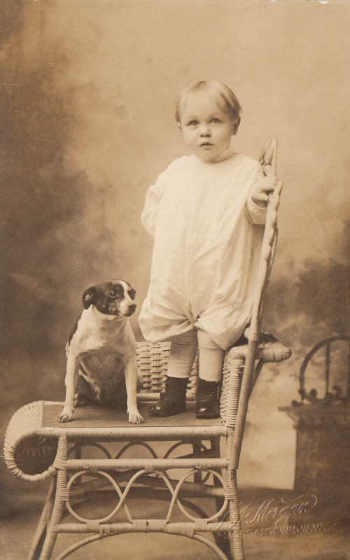 """D. Fleming Lucas and Trixie. From Will & Edna.""  Studio photograph on postcard, 1920s."