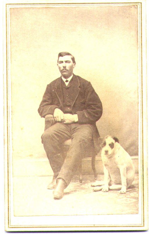Unidentified man with bull terrier.  Carte-de-visite, R. H. Lincoln, Photographer, Somerville, NJ.  The two-sent tax stampe on the back dates the image to the Civil War.